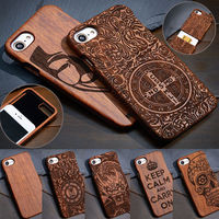 2017 Hot Caved 100 Natural Wooden Wood Bamboo Phone Case Cover For Apple Iphone 7 Plus