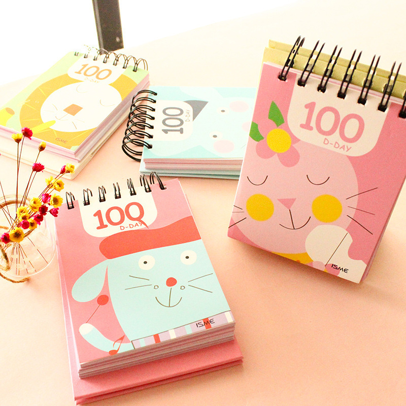 14x10.5cm cute spiral notebook happy 100 days countdown planner notepad cat lion donkey mouse paper memo pads shool supplies cat days