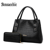 Bonsacchic 2pcs Black Women Leather Handbags Luxury Handbags Women Bags Designer Alligator Purse and Handbags Big Shoulder Bag