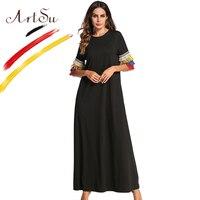 ArtSu Women Vintage Tassel Long Dress Half Sleeve Black Casual Dress Maxi Robe Femme Ete 2018 4XL Plus Size Cotton White Dresses