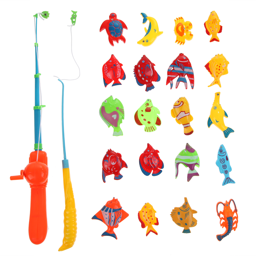 20Pcs Fishes Kids Magnetic Magnet Fishing Game Toys +2Pcs Fishing Rod Kid Eearly Educational Toy for Children