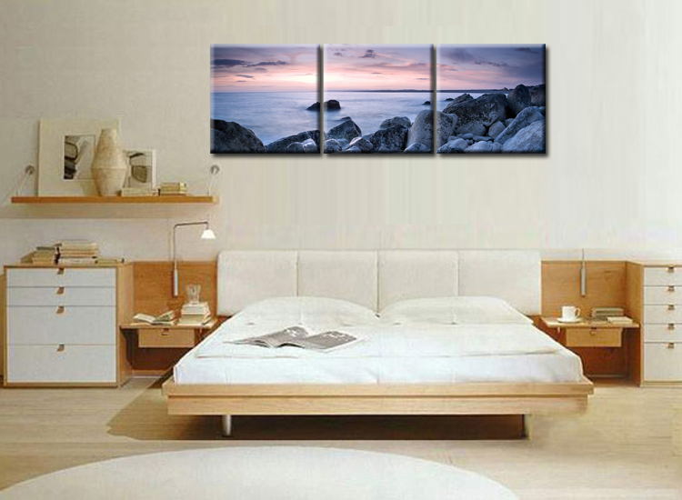 3 Piece Modern Wall Art Home Decoration Printed Oil Painting pintura oleo beautiful sunrise on the sea landscape Frame QJFJ3 55 in Painting Calligraphy from Home Garden
