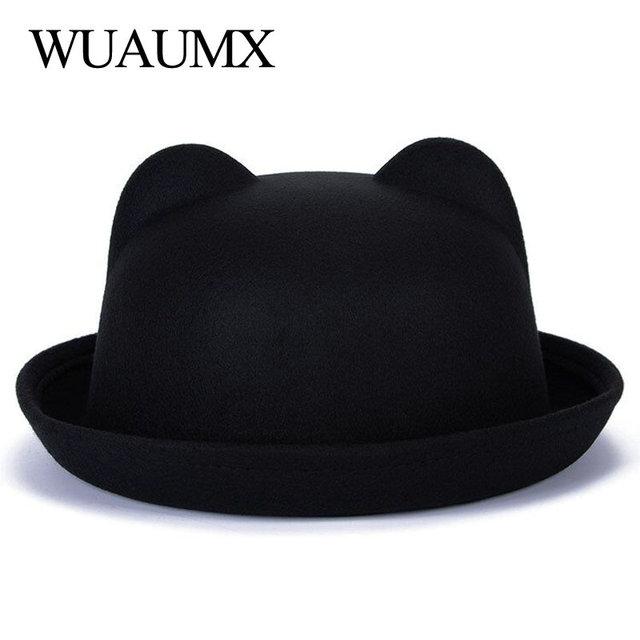 515898b3ce54a Wuaumx Fashion Vintage Fall Winter Fedoras Hats For Women Ladies Felt Top  Hat For Girls Homburg