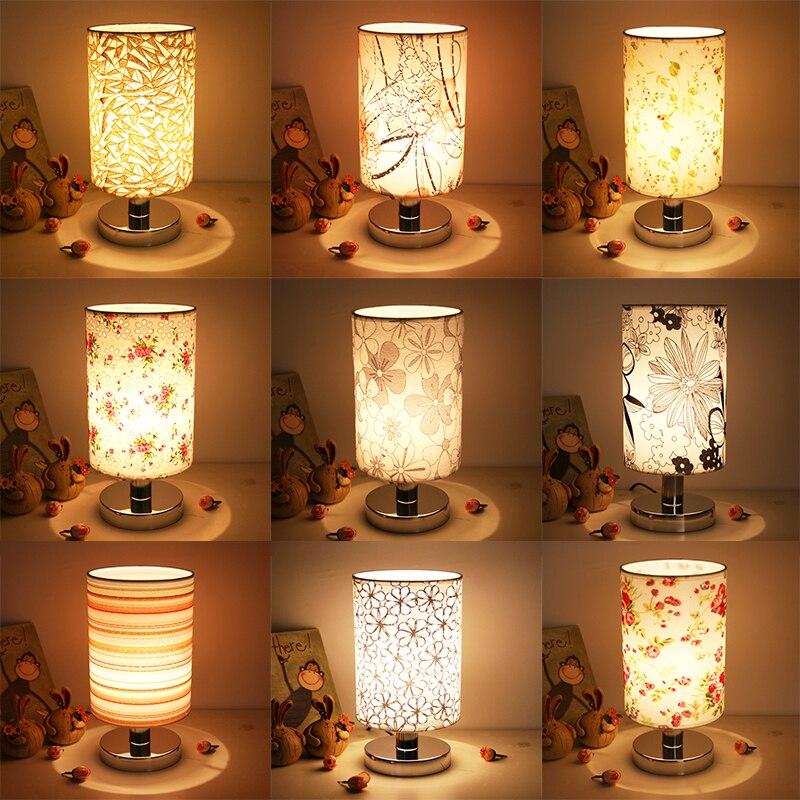 LED Table Lamps For Bedroom Living Room Fabric Bedside Lamp E27 Bed Lamp Art Deco Stainless Steel Lampe De Chevet De Chambre