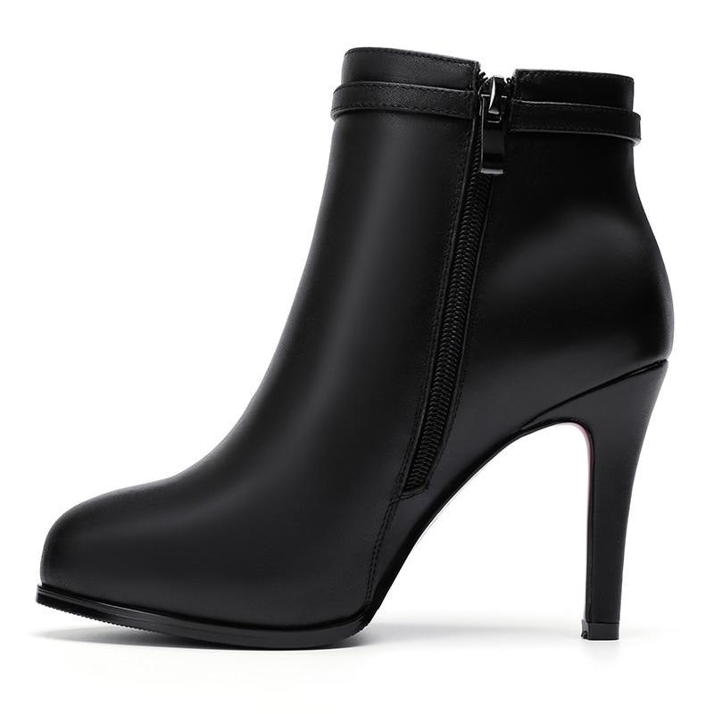 Black Parte Doratasia Invierno Genuino Dan Otoño Tobillo Vaca black De Tacón Alto Short Mujer Las Zapatos Mujeres Botas Plush Mejor Li Calidad La Cuero UHZvWUrAq