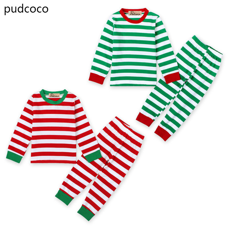 Christmas Child Baby Girl Boy Stripe Cotton Pajamas Sleepwear Sets Long Sleeve Red Green Tops Pants Xmas Nightwear Clothes Set lovely spring pure cotton thomas and friends children clothing long sleeve tops pants for 2 7 years boy kids pajamas sleepwear