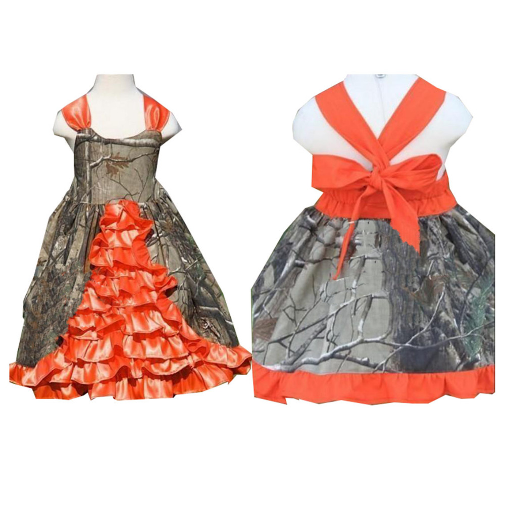 Cheap Camo Flower Girl Dresses 2017 A Line Princess Big Bows Ruffles