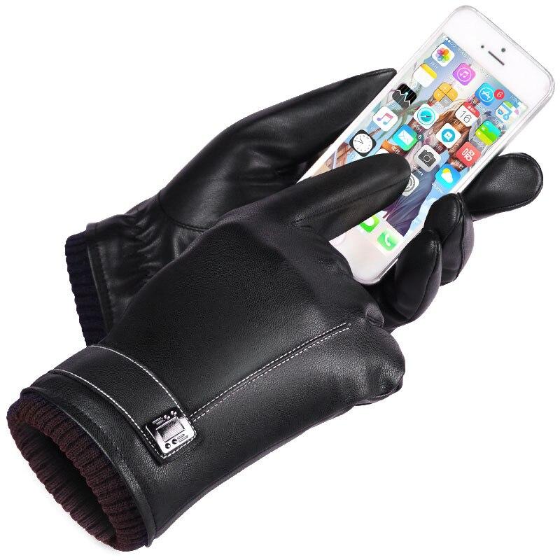 Leder Handschuhe herren Winter Handschuhe Touchscreen Winddicht Halten Warm Driving Guantes Männlichen Herbst und Winter Leder Handschuhe Schwarz