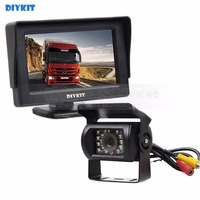 DIYKIT Wired 4.3inch Car Monitor Waterproof Rear View Backup Camera Parking Assistance System for Trucks Caravans Bus Motorhome
