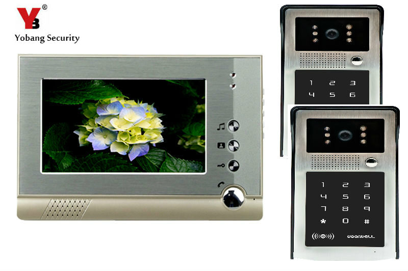 YobangSecurity 7 Inch Wired Video Intercom Doorbell System Video Door Phone DoorBell Intercom Kits IR 2 Camera 1 Monitor