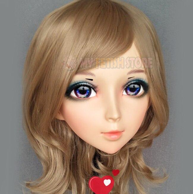 Boys Costume Accessories ying-01 female Sweet Girl Resin Half Head Kigurumi Mask With Bjd Eyes Cosplay Japanese Anime Role Lolita Mask Crossdress Doll