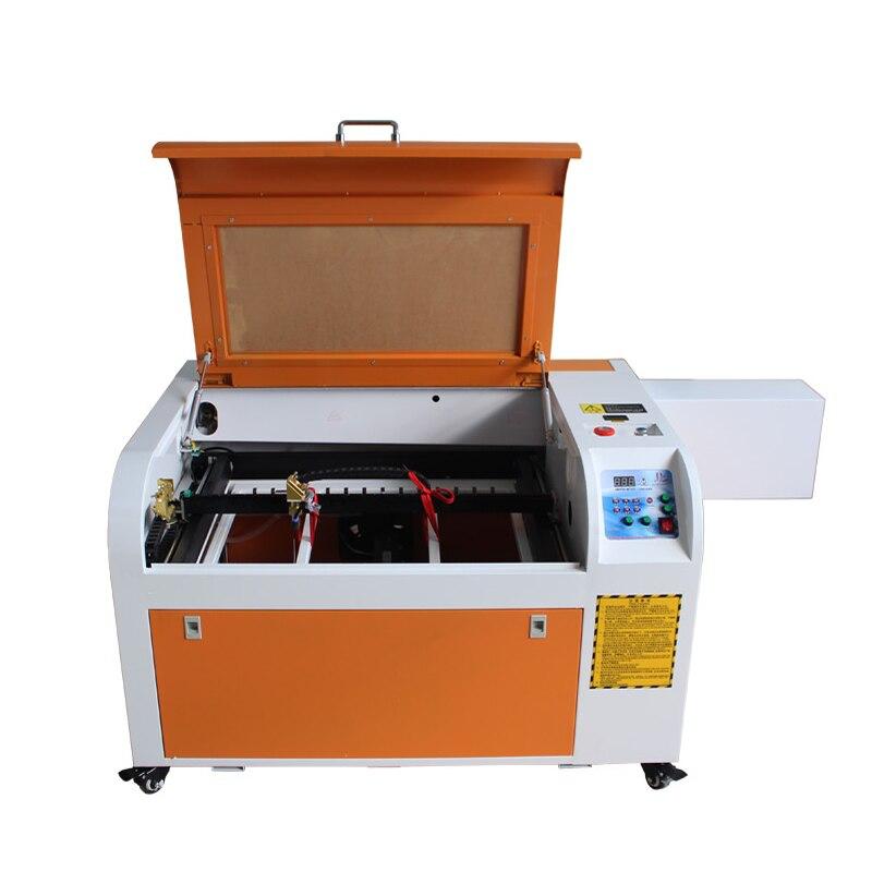 60 Вт CO2 лазерная гравировальная машина 3D лазерная печатная машина с поворотной осью и сотовым столом высокоскоростная рабочая размер 600*400 мм