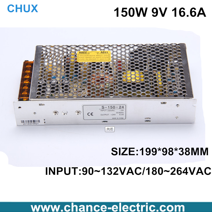 150W  9v  16.6A Single Output Switching power supply for LED Strip light AC to DC S-150-9v single output dc 24v 25a 600w switching power supply for led light strip 110v 240v ac to dc24v smps with cnc electrical equipmen