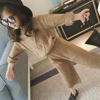 Kids Girls Clothes Sets 2018 New Spring 2pcs Solid Regular Full Sleeves O neck Sweaters Long Pant Suits Casual Girl Cloth 4cs252