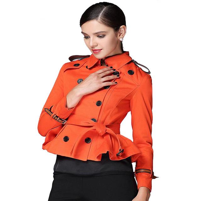 Otoño Moda Trench Coat para Las Mujeres de Estilo Británico de Doble Botonadura Mujeres de la Marca Ruffles Trench Coat Corto Epaulet Abrigo Informal