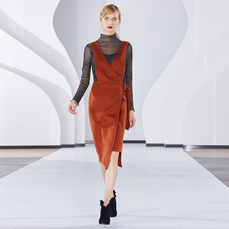 Robe en laine femmes 2019 printemps automne couleur unie col en V sans manches bretelles élégantes irrégulière une ligne robe mi-mollet S-XL