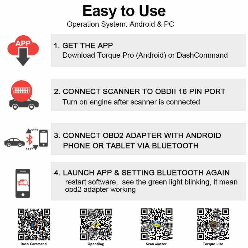 Ancel iCar2 ELM327 v1 5 Bluetooth Car Error Code Reader OBD 2 Scanner iCar  2 ELM 327 OBD2 Auto Diagnostic Tool for Android/PC