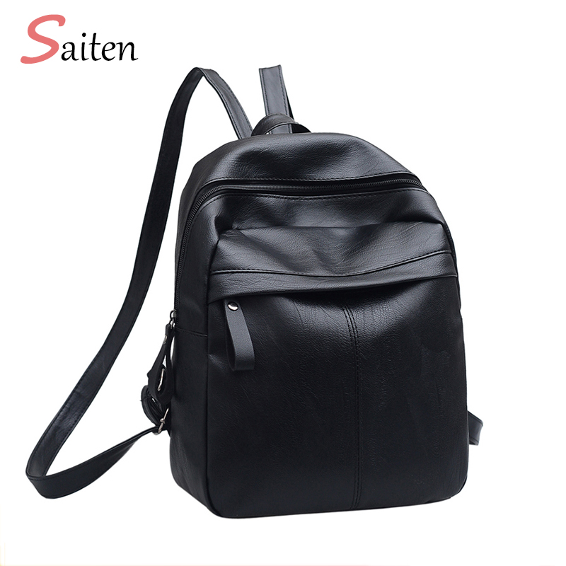 High Quality PU Leather Women Backpack Fashion Solid School Bags For Teenager Girls Casual Women Black Backpacks