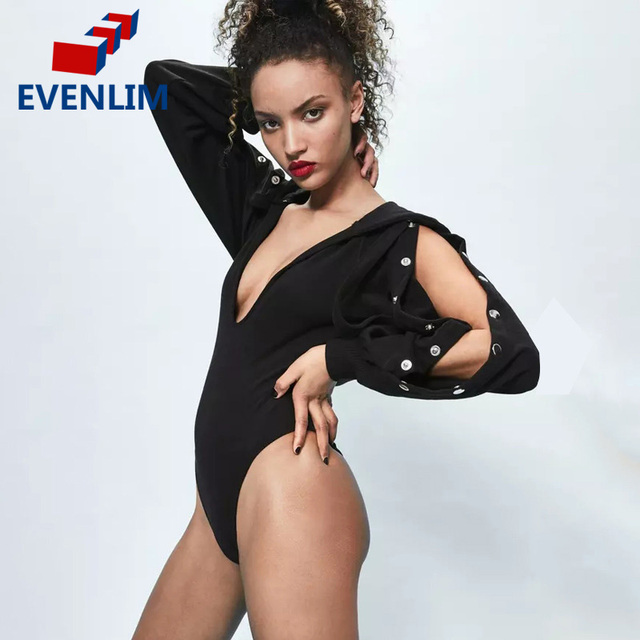 51e595e28d EVENLIM Black Rompers Womens Jumpsuit Summer Deep V Neck Hooded Bodysuit  Sexy Long Sleeve Buttoned Bodysuit Club Tops New DR0005