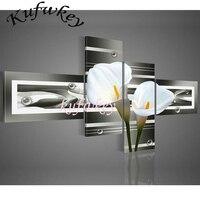 DIY 3D Diamond Embroidery Mosaic Diamond Painting Flowers Wall Art Black Pure White Lilies Home Decoration