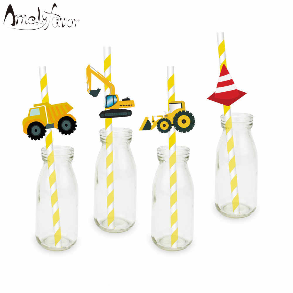 Construction Trucks Straw 20PCS Paper Straws Birthday Party Festive Supplies Decoration Paper Drinking Straws Holiday Straws