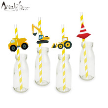 Construction Trucks Straw 20PCS Paper Straws Birthday Party Festive Supplies Decoration Paper Drinking Straws Holiday Straws(China)