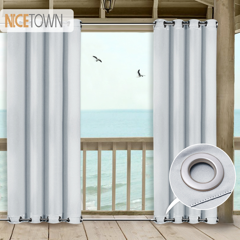 NICETOWN Patio Curtain Outdoor Drape Panels Top and Bottom Grommets Blackout waterproof Mildew Resistant Drapes for