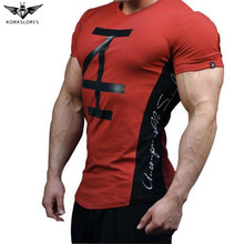 KORKSLORES men's t-shirt Fitness bodybuilding Short sleeve t shirts Fashion Leisure Muscle Men Slim fit personality tees tops