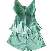 New Arrival Summer Sexy Women Green Nightwear Pijamas Sets Free Shipping Real Silk Sleepwear Sets Women