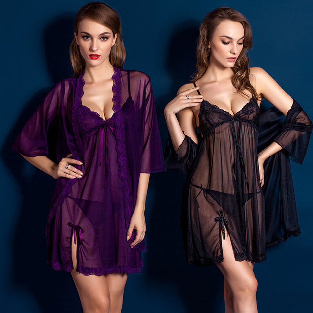 8ed17c56cd75 Purple Black Women Sexy Temptation Nightdress Lace Floral Nightgowns  Perspective Romantic Adytum Night Robes Intimates Slips
