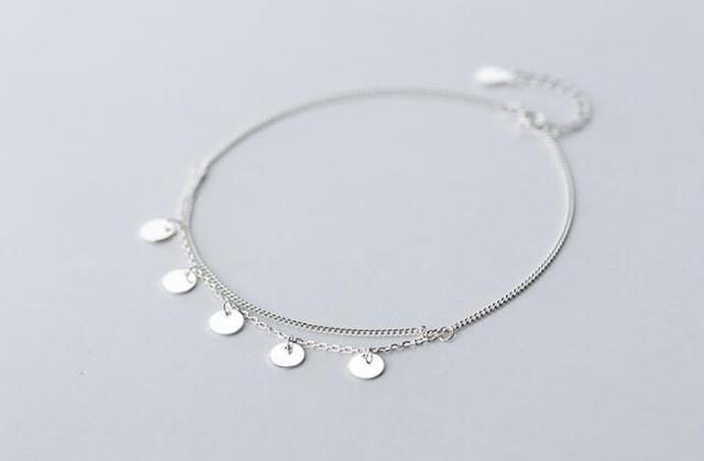 Bohi 100% real. 925 Sterling silver Fine Jewelry Multi-Layers Polished Plain Round Coin design Anklet  Bracelet women's GTLS547
