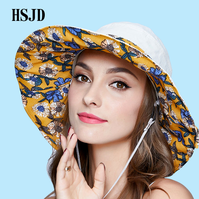 Women s cloth sun hat Country Style Floral Foldable Ribbons Wide Brim Sun  Cap 2018 Summer New 27b977fc6e38