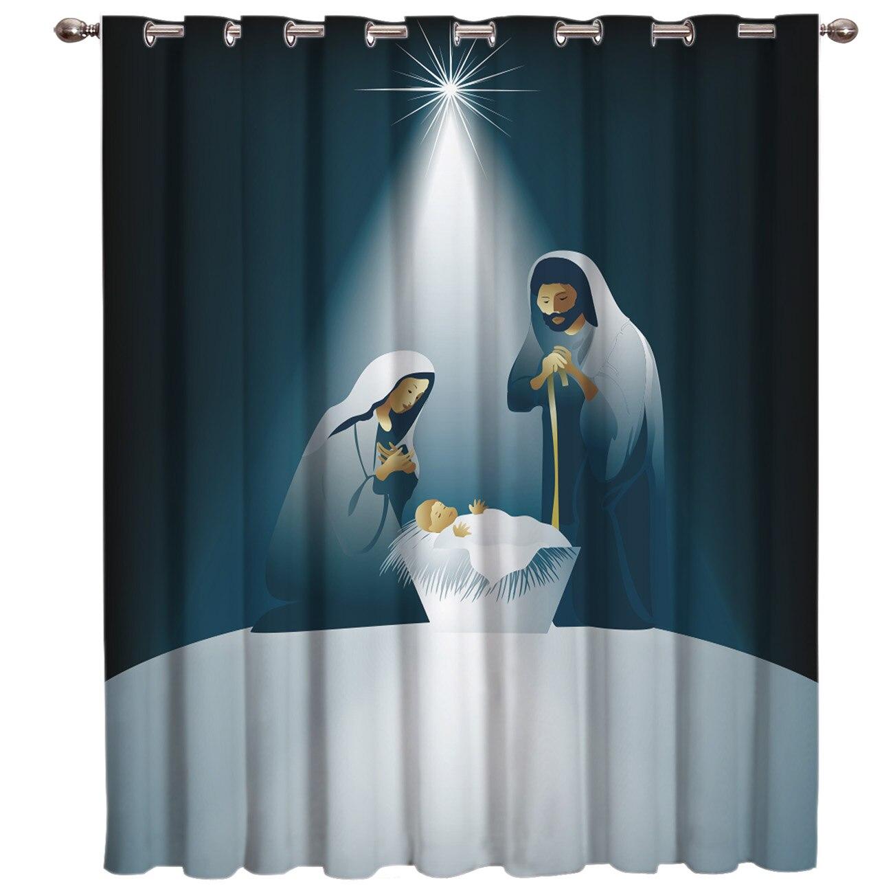 Christams Jesus Christ Snow Holiday Room Curtains Large Window Window Curtains Dark Curtain Lights Outdoor Indoor Fabric Kids