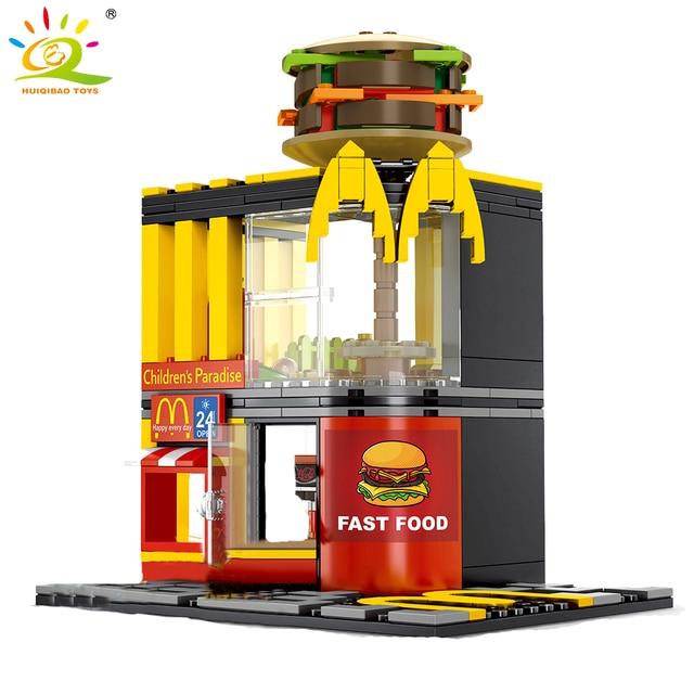 Huiqibao 274Pcs Fast Food Hamburger Winkel Street View Model Bouwstenen Stad Architectuur Bricks Kinderspeelgoed