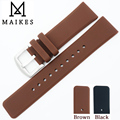 MAIKES New Rubber Watch Strap Brown 22mm Silicone Watch Band Men High Quality Sport Dive Watchband