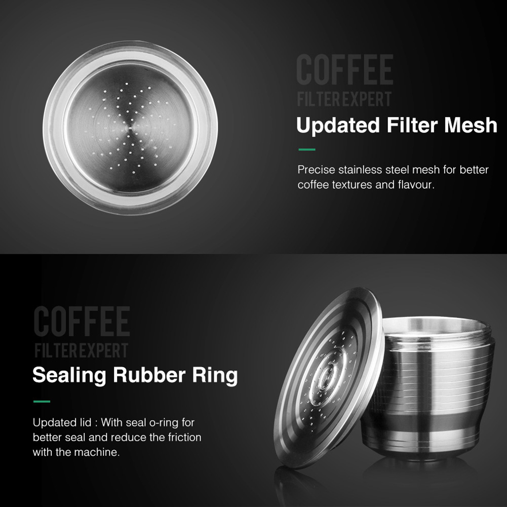 Coffee:  Stainless Steel Reusable Refillable Coffee Pod Filter with Press Tamper Coffeeware Set SDF-SHIP - Martin's & Co