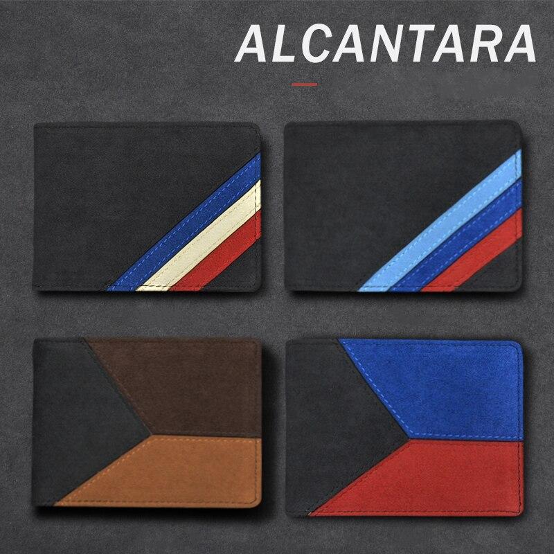 Alcantara Bank Credit ID Card Holder Men Card Package Holder For Audi Mercedes W204 W203 W211