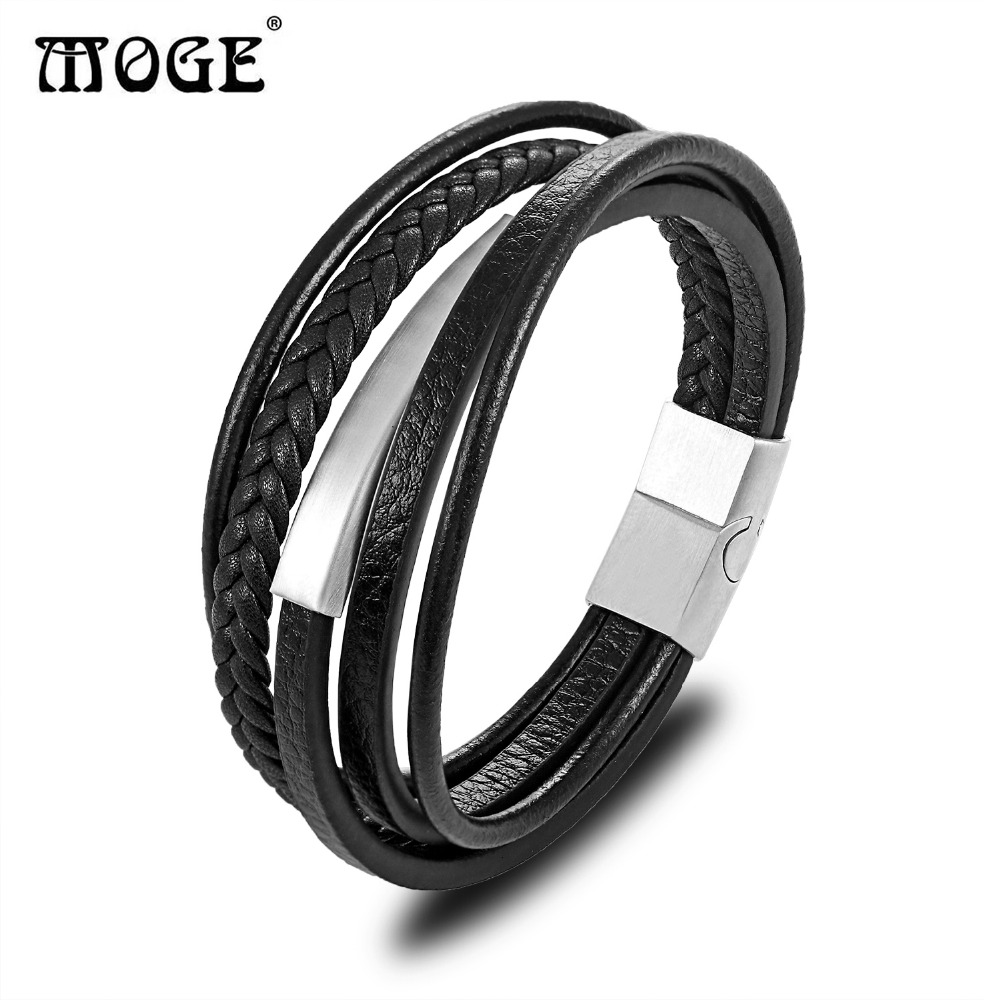 MOGE Trendy Men Genuine Leather Bracelet For Men Charm Multilayer Magnet Handmade Bangles Gift For Cool Boys