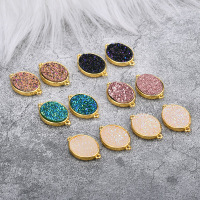 Trendy New 20pcs 14*22MM Bright Gold Tone Plated Glitter Oval Round Alloy Jewelry Necklace Pendants DIY Jewelry Findings Charms