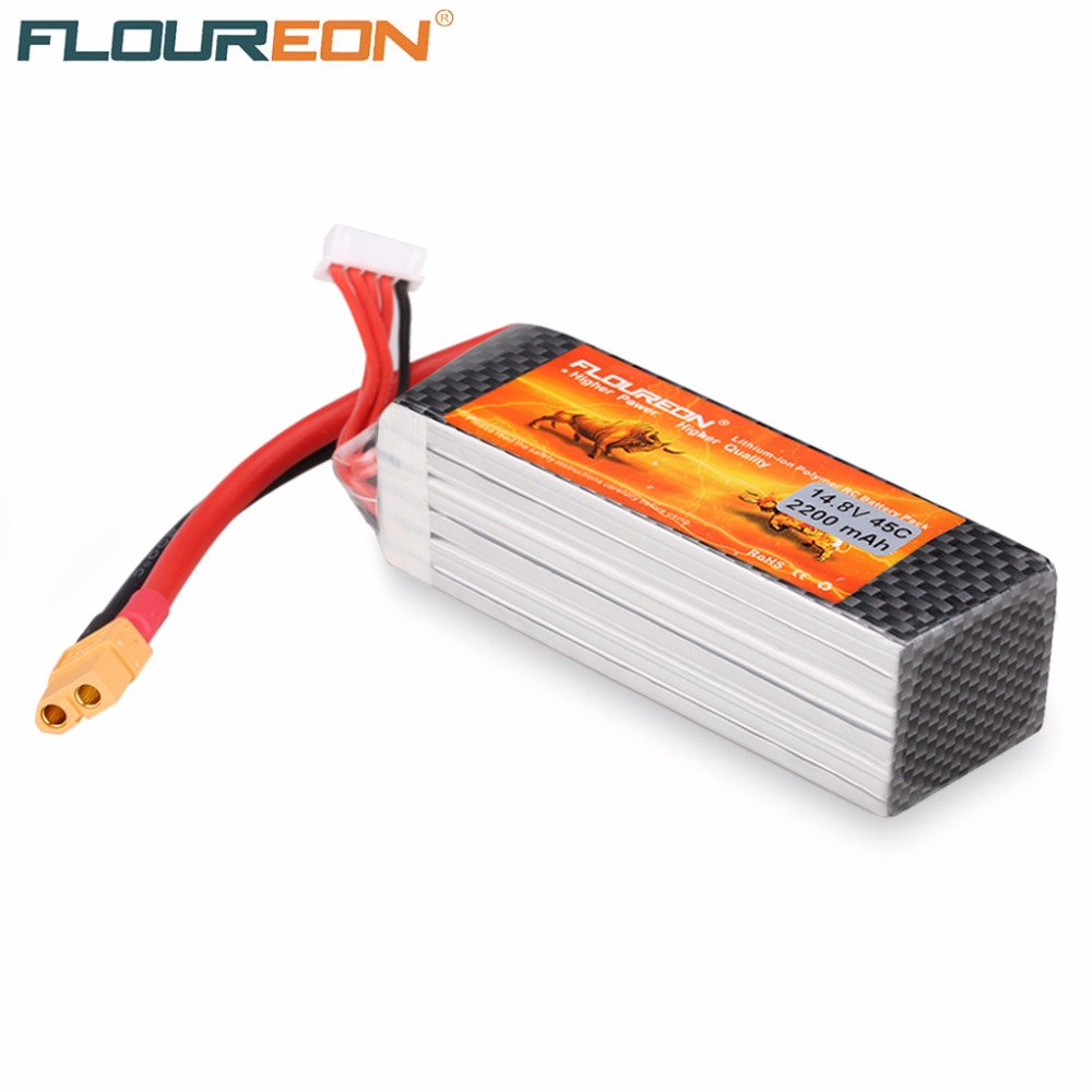 FLOUREON <font><b>14.8V</b></font> <font><b>2200mAh</b></font> 45C 4S Li-polymer Battery Dean XT60 Plug RC Helicopter Battery for RC Control Toys Rechargeable batteries image