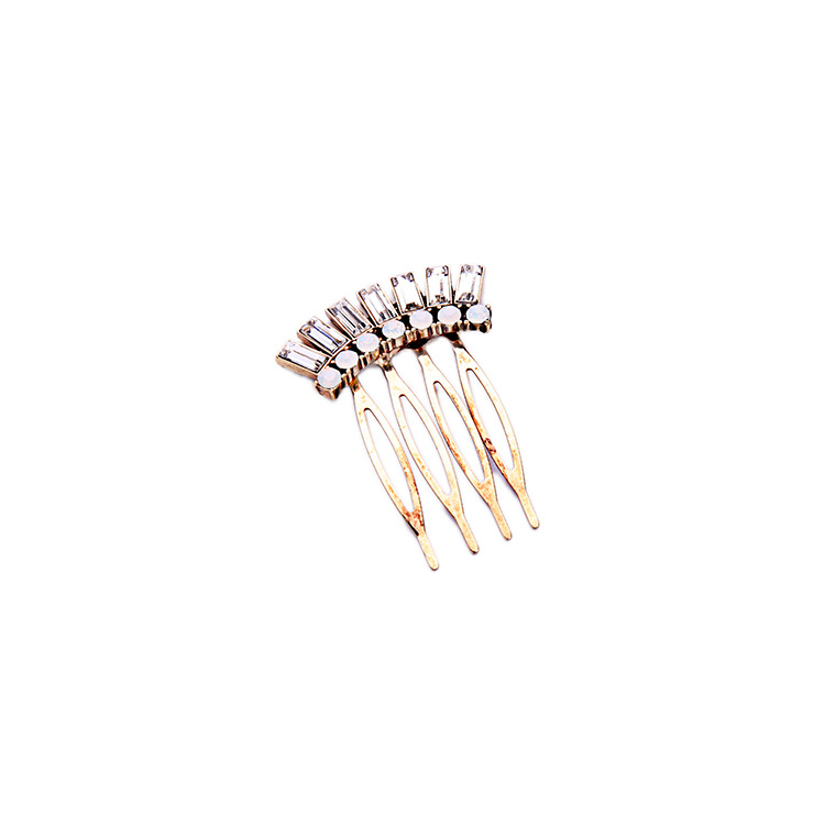 Vintage Gold Pave Fan Opal Rhinestone Crown Hair Combs Jewelry Fashion Accessories