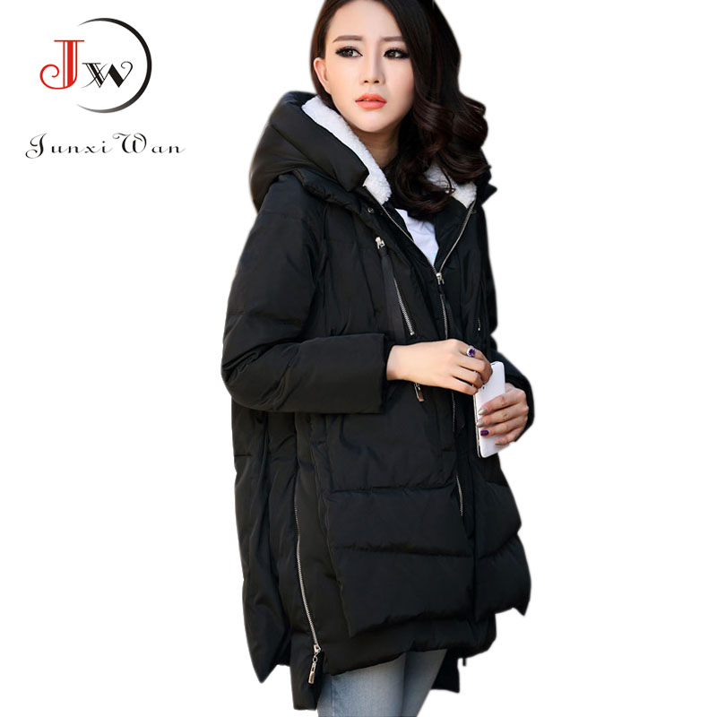 ФОТО Winter Down Wadded Jacket Women Plus Size Outerwear Female Thicken Warm Cotton-padded Long Fur Collar Coat Parka WC0406