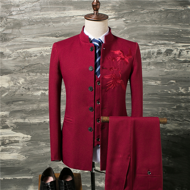 Classic Red Men Suit coat with Vest and Pants Fashion Chinese Retro Style Men Wedding Groom