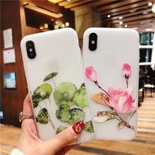 Cyato Soft 3D Relief Flowers Case For iPhone X 6 6s 7 8 Plus TPU High Quality Pattern Silicone Shockproof Capa Cover Fundas