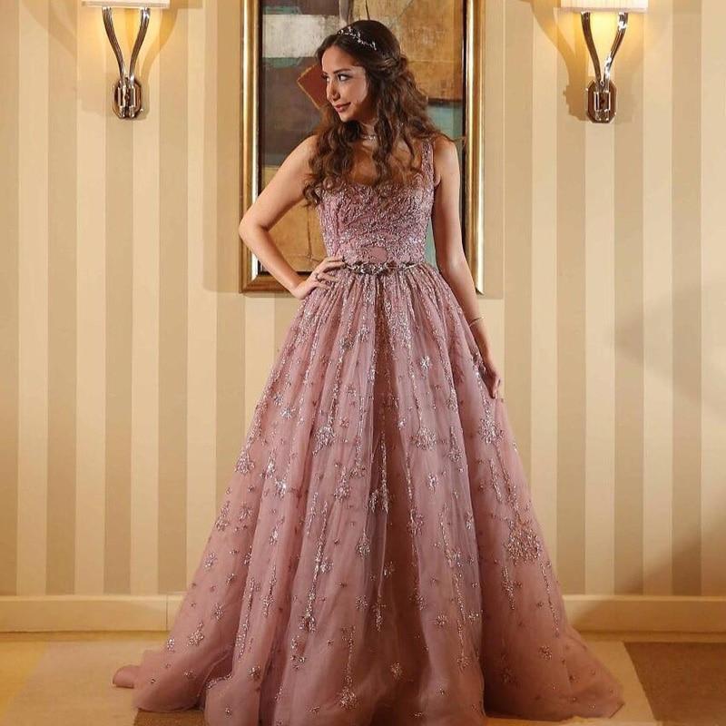 Scoop Robes Train Dubaï Rose Bal Perles Cou Dos Dentelle Paillettes Celebrity De Nu Glamour Appliqued Soirée Balayage wqXHUCq