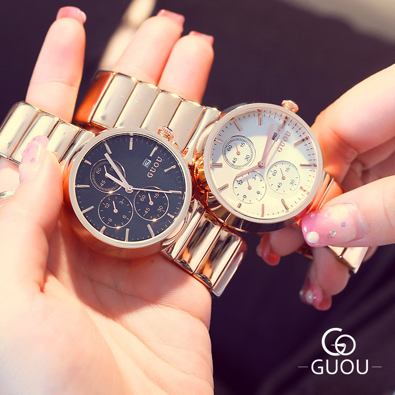 ФОТО AAA Brand GUOU Ladies Dress Watch Luxury Rose Gold 3 Eyes Calendar Bracelet Watches with Alloy Strap Women Business Wristwatch