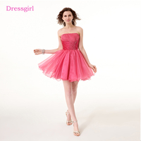 Fuchsia 2017 Homecoming Dresses A Line Strapless Short Mini Organza Beaded Elegant Cocktail Dresses