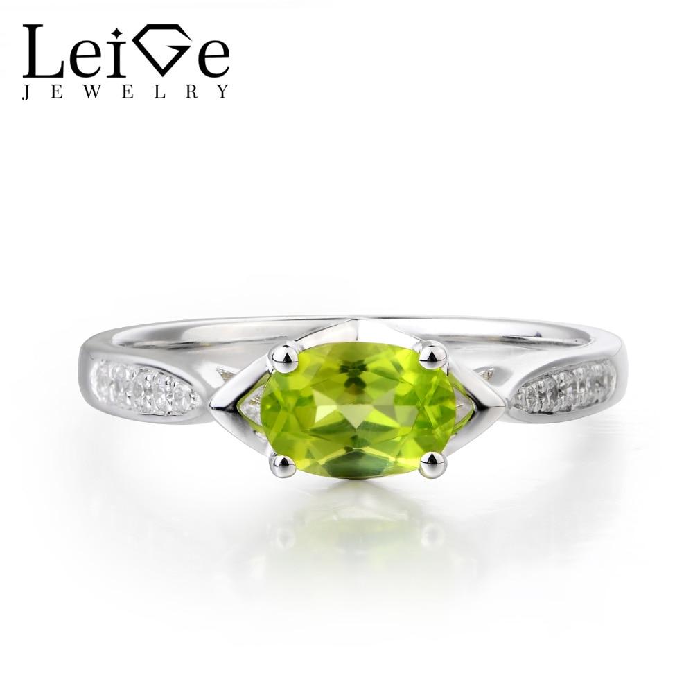 купить Leige Jewelry Vintage Ring Natural Green Peridot Gems Ring Engagement Ring 925 Sterling Silver Romantic Gifts August Birthstone по цене 6459.76 рублей
