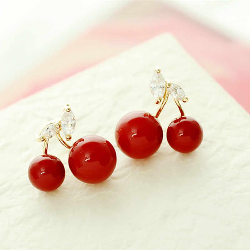 Nova Hipoalergênicos personalidade da moda Coreana grande 4ED171 vermelho cereja brincos de mulheres de jóias por atacado