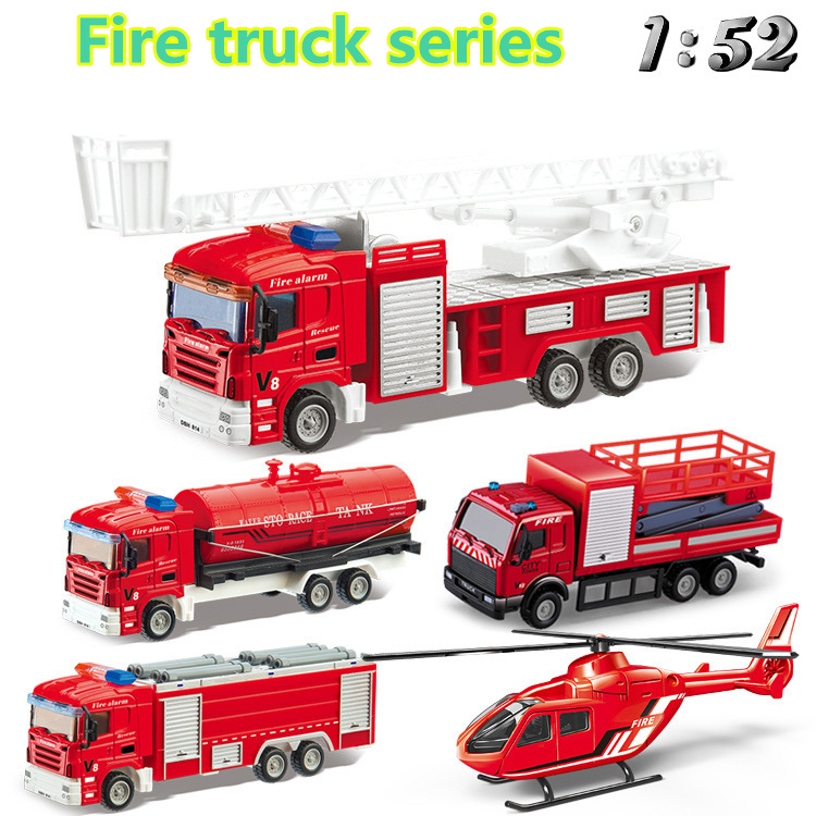DIY Children's 1:52 Alloy Die Casting Inertial Return Fire Helicopter Rescue Simulation Model Rotary Toy Collection Gift Set